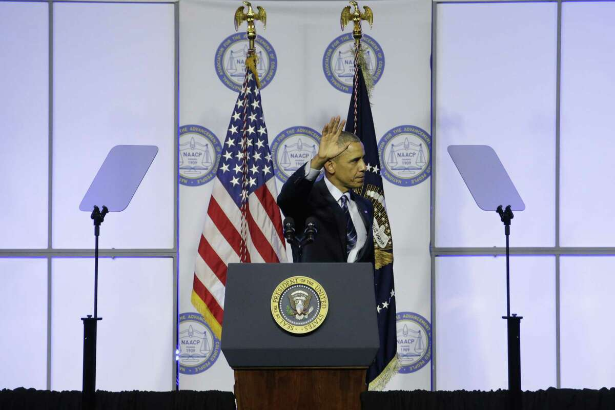 President Barack Obama waves after speaking at the NAACP's 106th Annual National Convention on July 14 in Philadelphia.