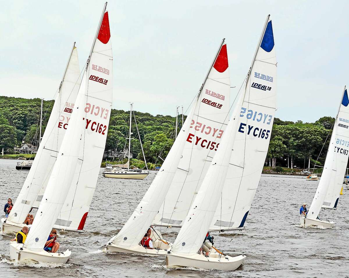 Contributed photos Racing keel to keel the Special Olympians had to endure strong river currents and fickle winds during the regatta in the waters off the Essex Yacht Club.