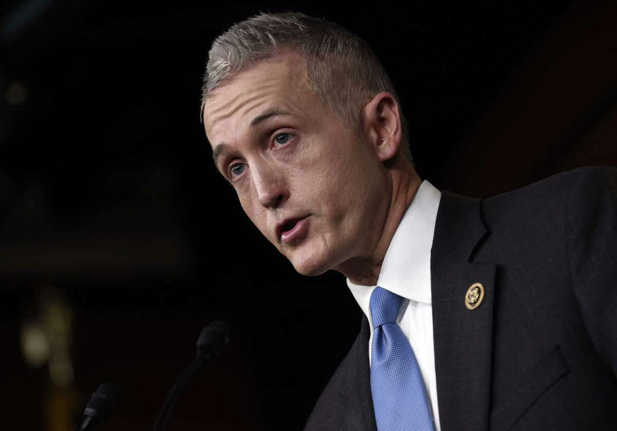 House Select Committee on Benghazi Chairman Rep. Trey Gowdy, R-S.C. speaks at a news conference on Capitol Hill in Washington, Tuesday, March 3, 2015, about former Secretary of State Hillary Rodham Clinton using her personal email account for official business. A spokesman for Clinton says there was nothing illegal or improper about her use of a personal email account during her time as Secretary of State, rather than a government-issued email address. The practice could hamper efforts to archive official government documents required by law. (AP Photo/Susan Walsh)