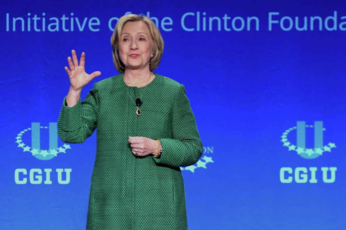 Former Secretary of State Hillary Rodham Clinton speaks at a university conference sponsored by the Clinton Global Initiative at the University of Miami on Saturday.