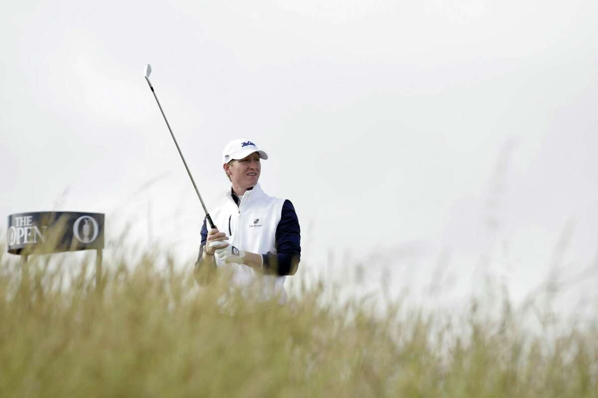 Jordan Niebrugge follows his drive from the sixth tee during the first round of the British Open on Thursday at the Old Course, St. Andrews, Scotland.