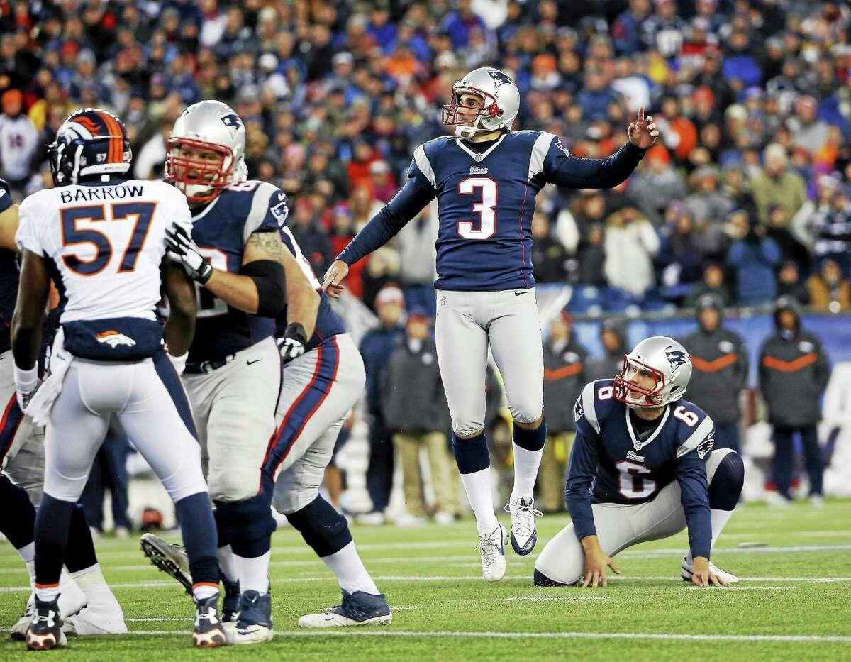 New England Patriots kicker Stephen Gostkowski (3) follows through on a field goal against the Denver Broncos on Nov. 2 in Foxborough, Mass.