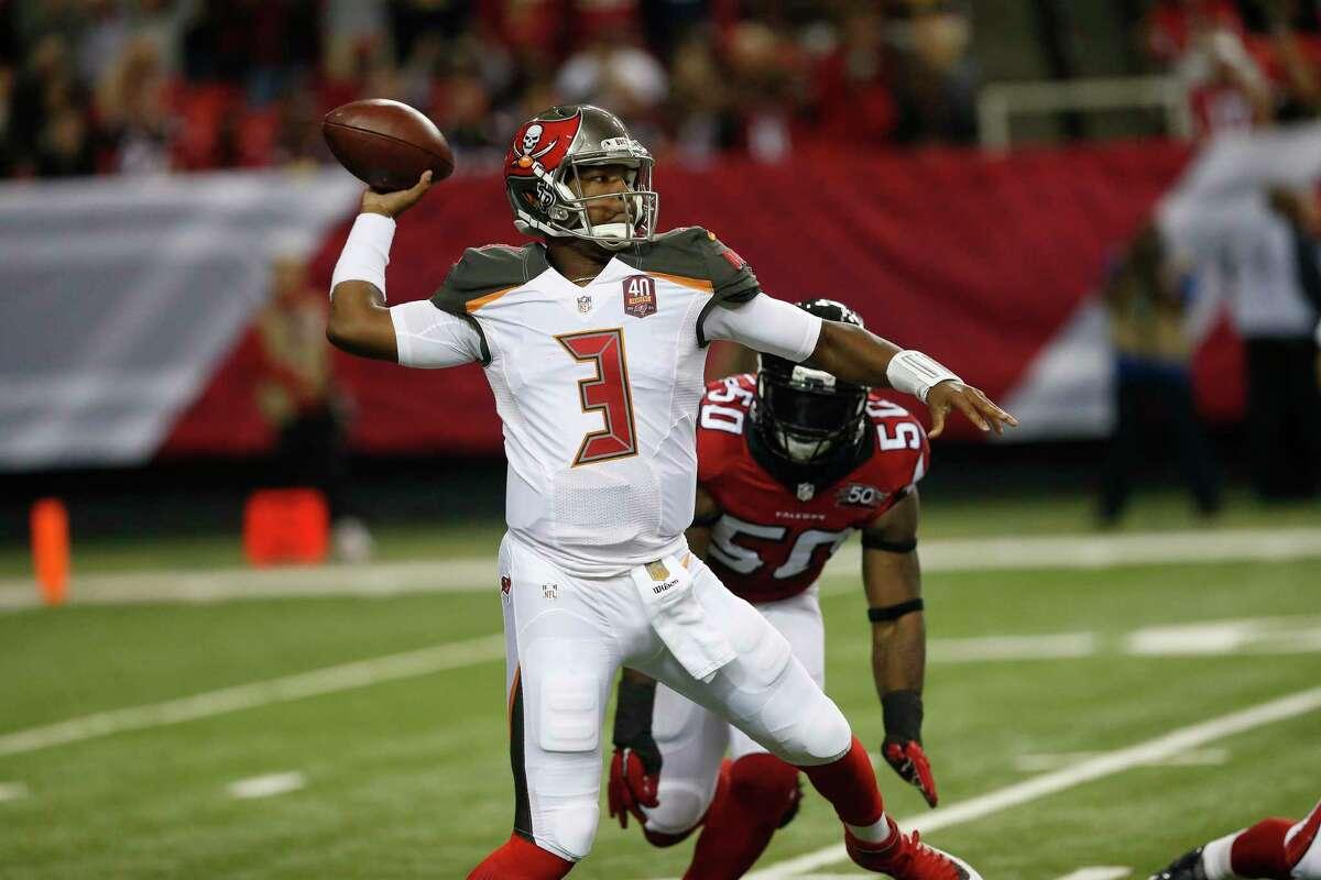 Tampa Bay Buccaneers quarterback Jameis Winston works against the Falcons last Sunday in Atlanta.