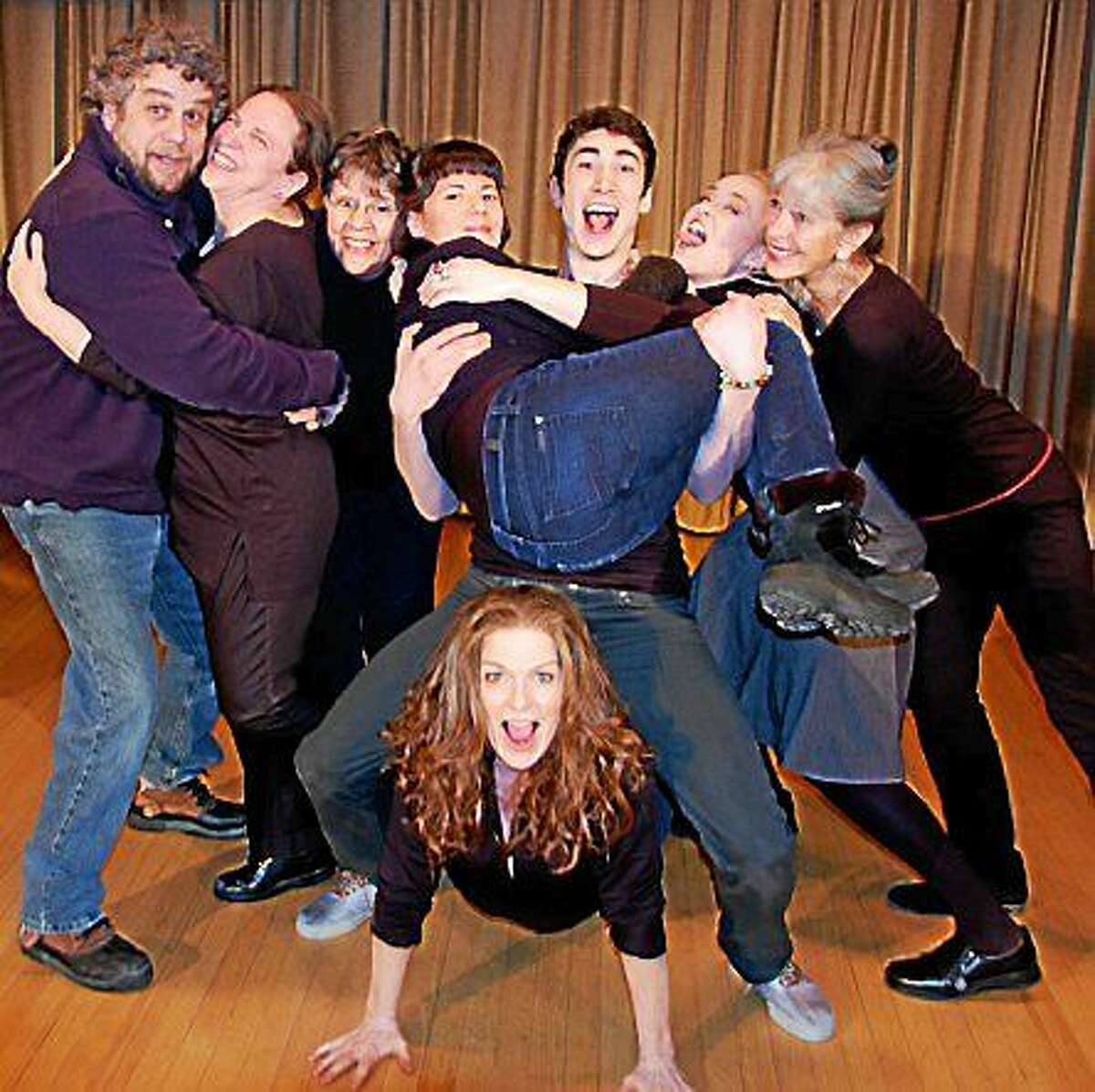 """Photo by Gerry Matthews The Ready for Anything Ensemble, stars of """"You Can't Be Serious!"""" by Terri Klein, directed by Jenny Hawkins Lecce. Pictured are Dalton Ahern, Bryn Berg, Anne Cassady, Kathy Digges Karen Gagliardi, Terri Klein, Robb Koehler, and Hilary Weissberg. Not pictured: Terri D'Arcangelo and Tony Palmieri."""