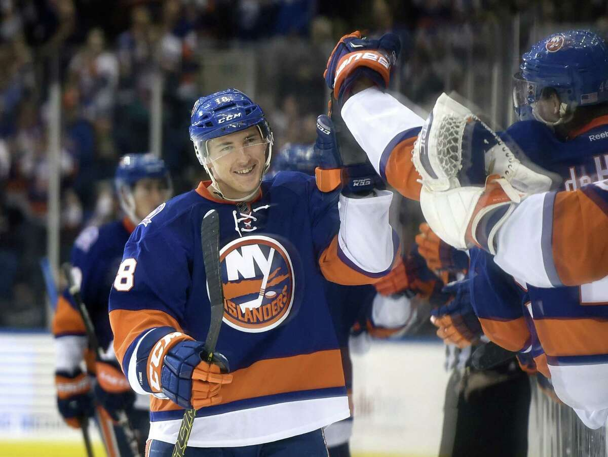 New York center Ryan Strome celebrates his goal with teammates during the third period of the Islanders' 6-0 win over the Colorado Avalanche on Tuesday in Uniondale, N.Y.
