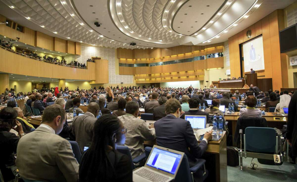 """Delegates gather for the opening of The Third International Conference on Financing for Development, held in Addis Ababa, Ethiopia on July 13, 2015. According to the organizers, the conference which runs from July 13-16 is intended to gather world leaders to """"launch a renewed and strengthened global partnership for financing people-centered sustainable development."""""""