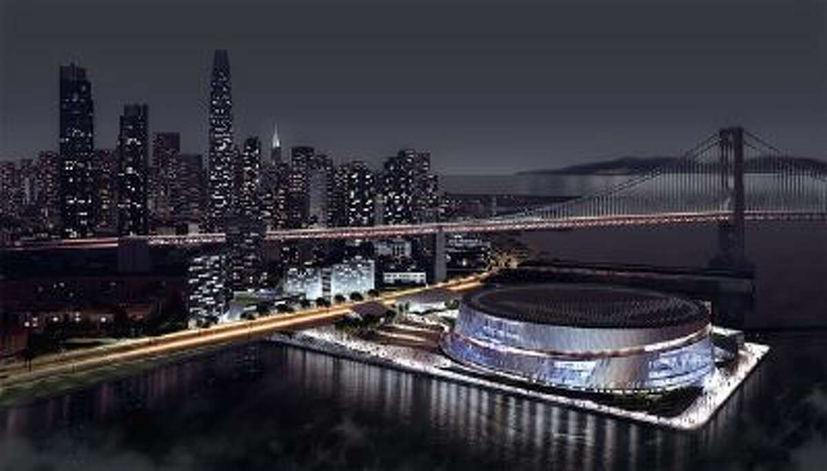 This is an artistís rendering of the Golden State Warriorsí proposed new arena along the San Francisco waterfront near the Bay Bridge. The updated designs were released on Sunday, May 5, 2013. More renderings can be found at www.warriors.com/sf. Art courtesy of Snøhetta & AECOM and the NBA.