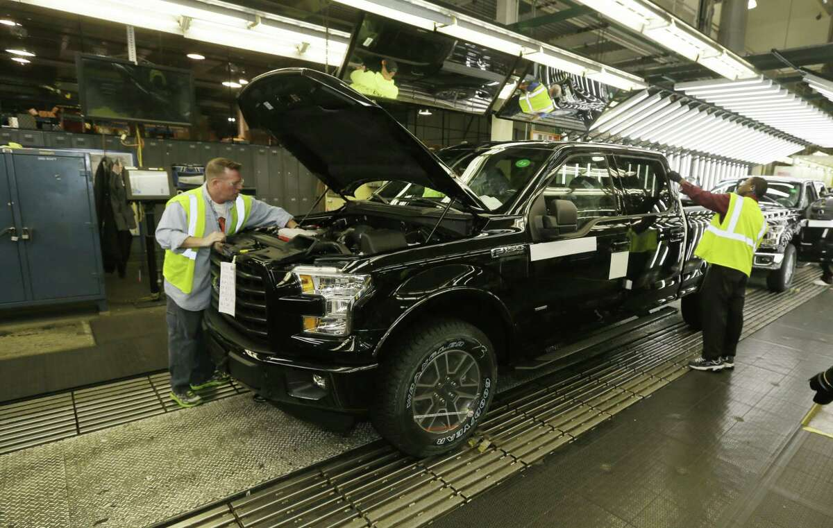 The new Ford F-150 truck is examined at the Rouge Truck Plant in Dearborn, Mich.