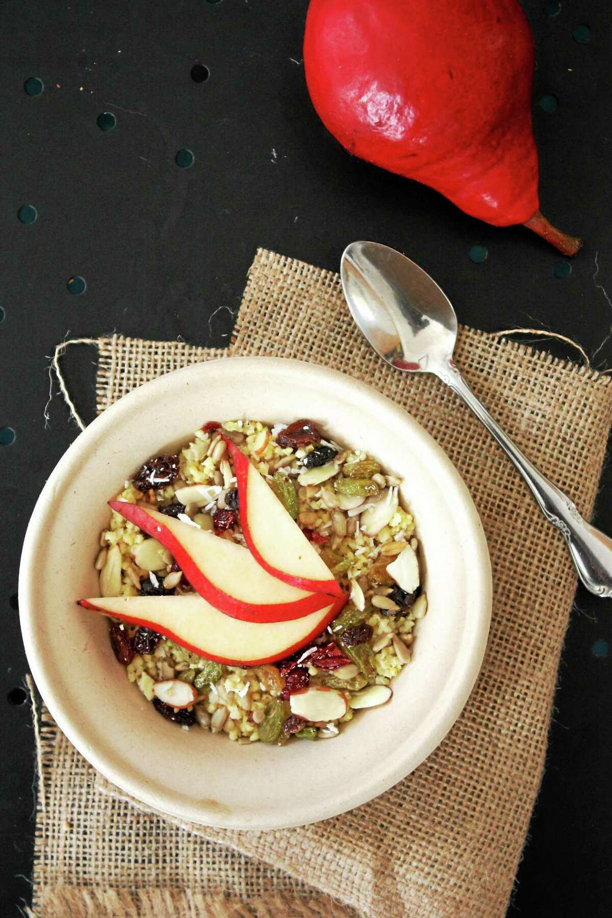 I.O.N. Restaurant Steel-cut oat breakfast bowl with pears.