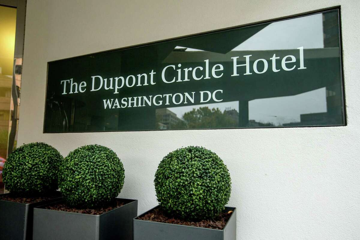 The Dupont Circle Hotel in Washington, Saturday, Nov. 7, 2015. Mikhail Lesin, a former aide to Russian President Vladimir Putin who helped found the English-language news service Russia Today, was found dead in the upscale Washington hotel room, Russian authorities said. He was 57.