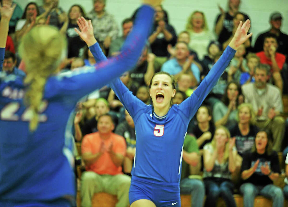 Hale-Ray junior setter Mary Pease celebrates a point in the Noises' win over Morgan in the SLC finals.