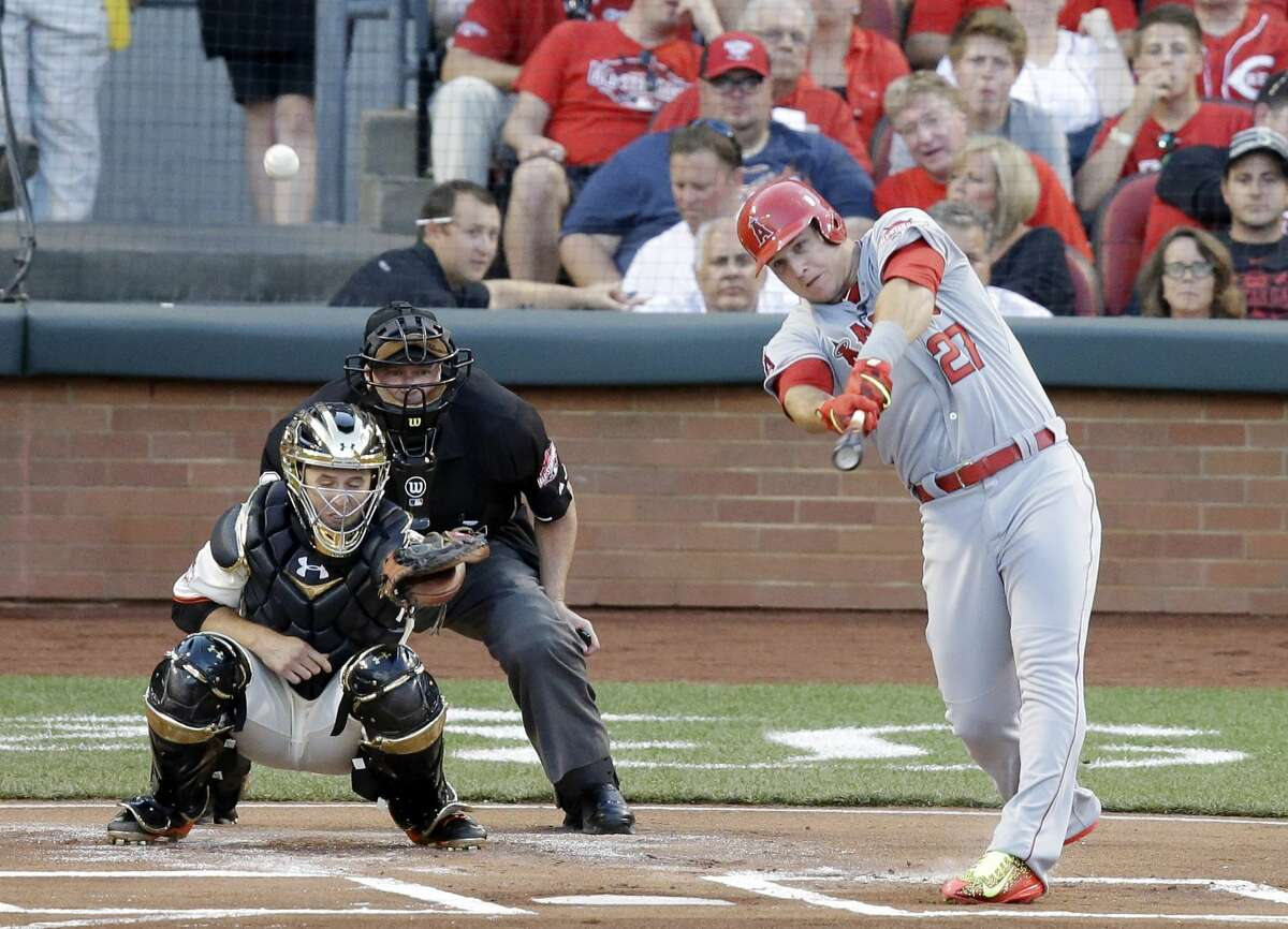 Mike Trout hits a home run during the first inning of the All-Star Game on Tuesday in Cincinnati.