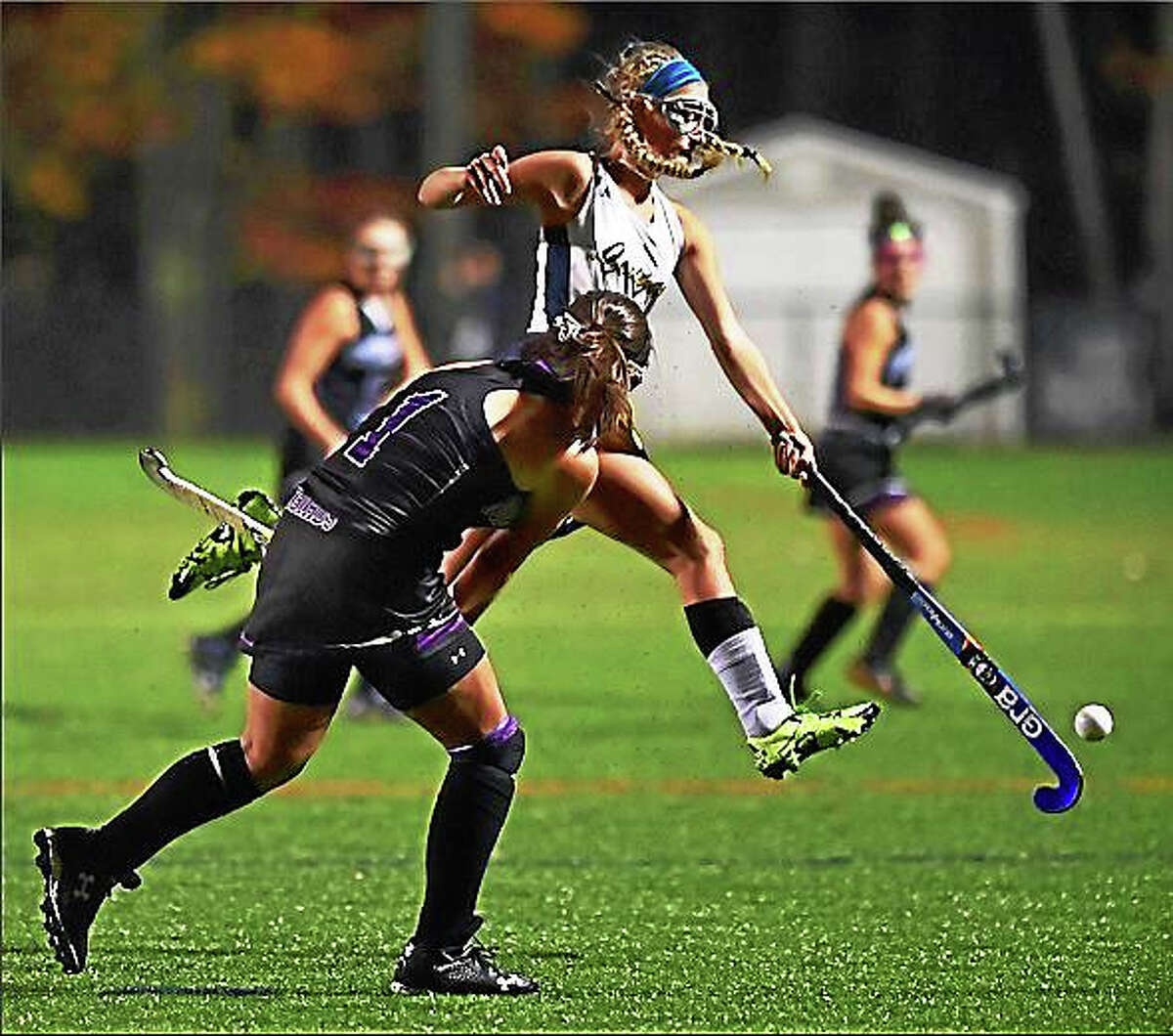 The Haddam-Killingworth Cougars defeated the North Branford Thunderbirds, 3-2, in the SLC field hockey championship Thursday at the Indian River Athletic Complex in Clinton.