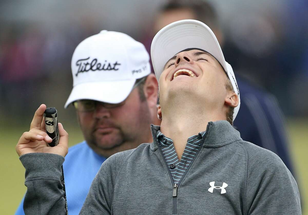 Jordan Spieth laughs during a practice round at the British Open at the Old Course, St. Andrews, Scotland, on Wednesday.