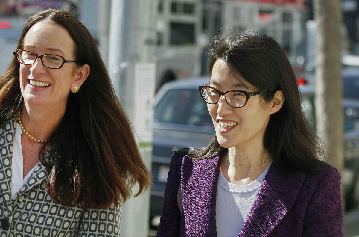 FILE - In this Feb. 24, 2015, file photo, Ellen Pao, right, leaves the Civic Center Courthouse along with her attorney, Therese Lawless, left, during a lunch break in her trial in San Francisco. Plaintiff Pao testified Monday, March 9, 2015, that female employees were treated disrespectfully at the firm of Kleiner Perkins Caufield & Byers, and some were not even invited, when the company held a series of events. Pao also told the jury at the civil trial that she complained to management about the atmosphere at Kleiner Perkins Caufield & Byers after learning a female colleague had complained about alleged sexual harassment. The investigator hired by the firm to investigate Pao's complaint concluded there was no gender discrimination at the firm. (AP Photo/Eric Risberg, File)