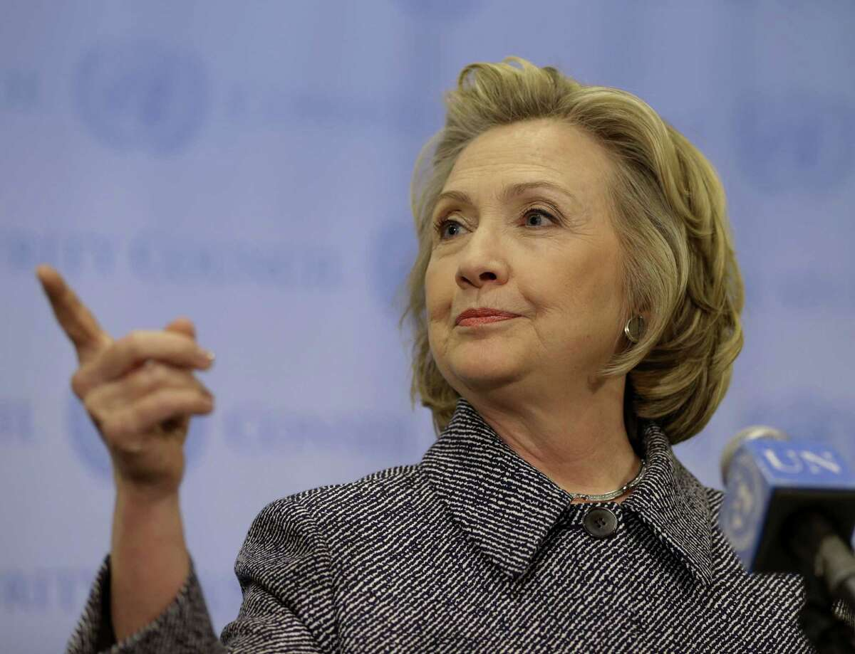 """Hillary Rodham Clinton speaks to the reporters at United Nations headquarters Tuesday. Clinton conceded Tuesday that she should have used a government email to conduct business as secretary of state, saying her decision was simply a matter of """"convenience."""""""