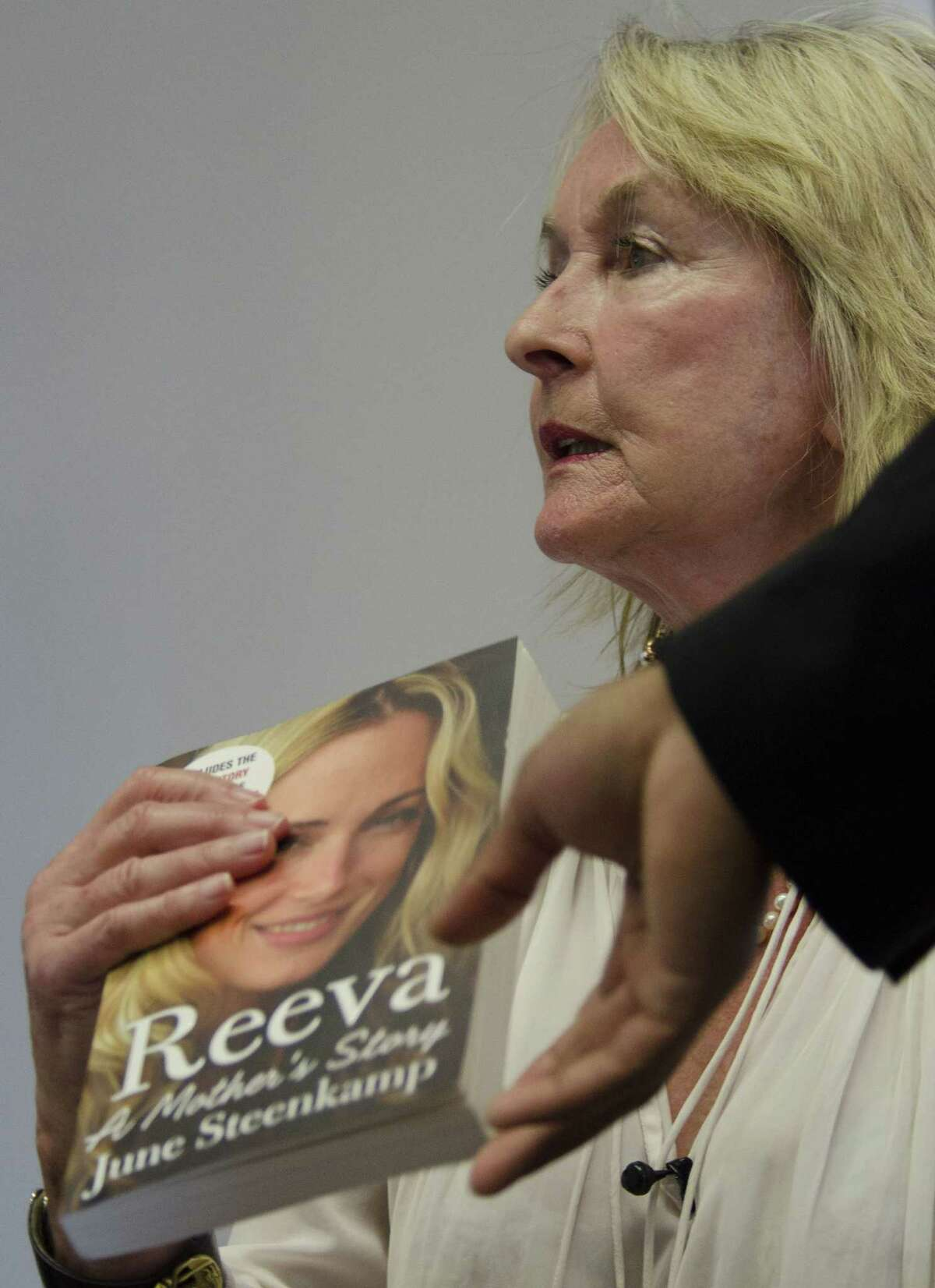 June Steenkamp, the mother of the late Reeva Steenkamp who was shot dead by her boyfriend Oscar Pistorius in 2013, speaks at the launch of her book, ëReeva, A Mothers Story.í in Johannesburg Tuesday, March 10, 2015. Steenkamp said that she did not care about an upcoming appeal hearing by the star athlete. Pistoriusí lawyers will challenge a judge's decision to allow prosecutors to appeal the runner's negligent killing conviction later this week. (AP Photo/Shiraaz Mohamed)