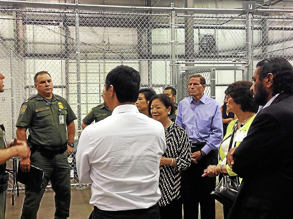 Sen. Richard Blumenthal and others on a tour of a Homeland Security facility near the US-Mexico border.