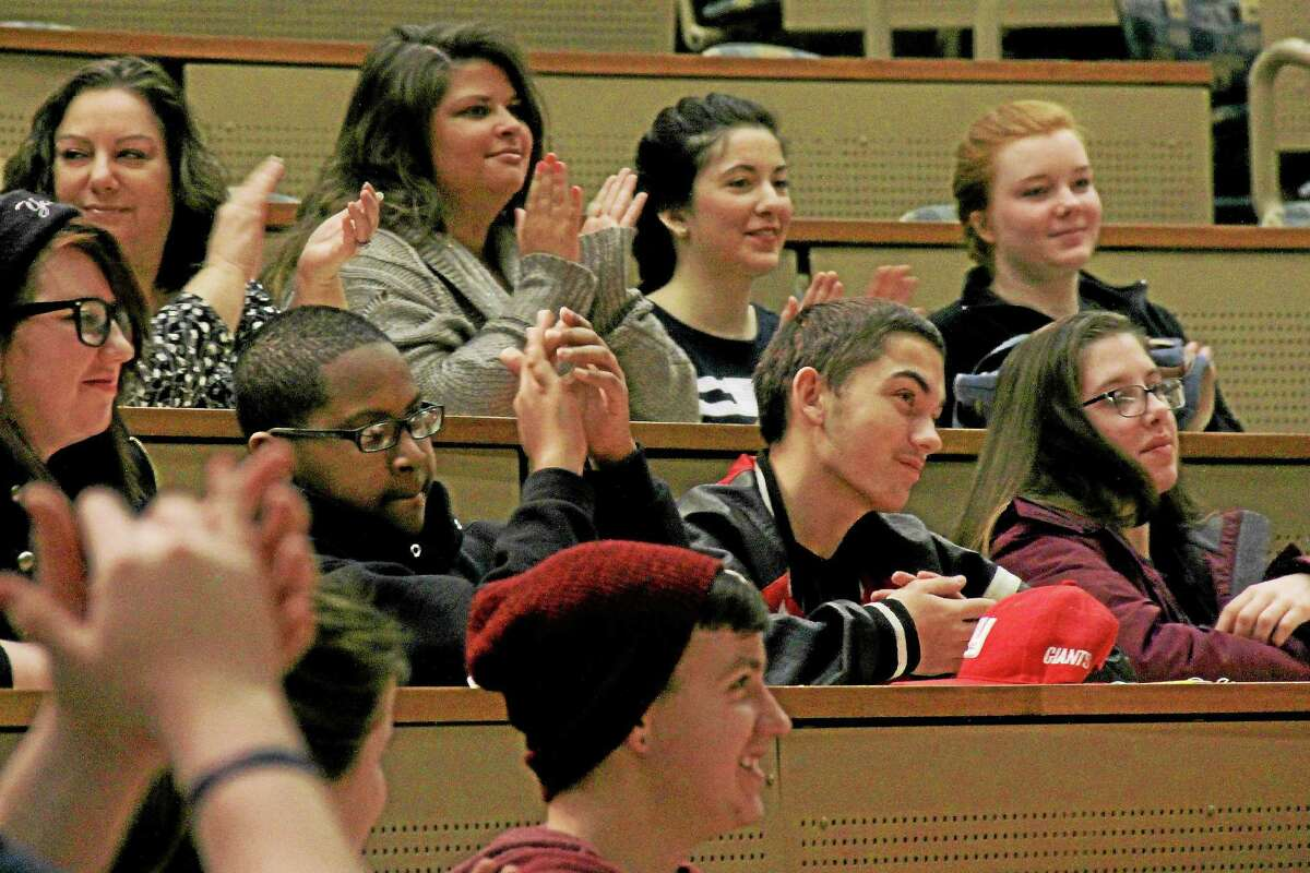 Students from East Hampton High School, Middletown High School, Coginchaug Regional High School and Vinal Tech attend the city's 32nd annual Teen Life Conference at Wesleyan University's Exley Science Center on Tuesday.
