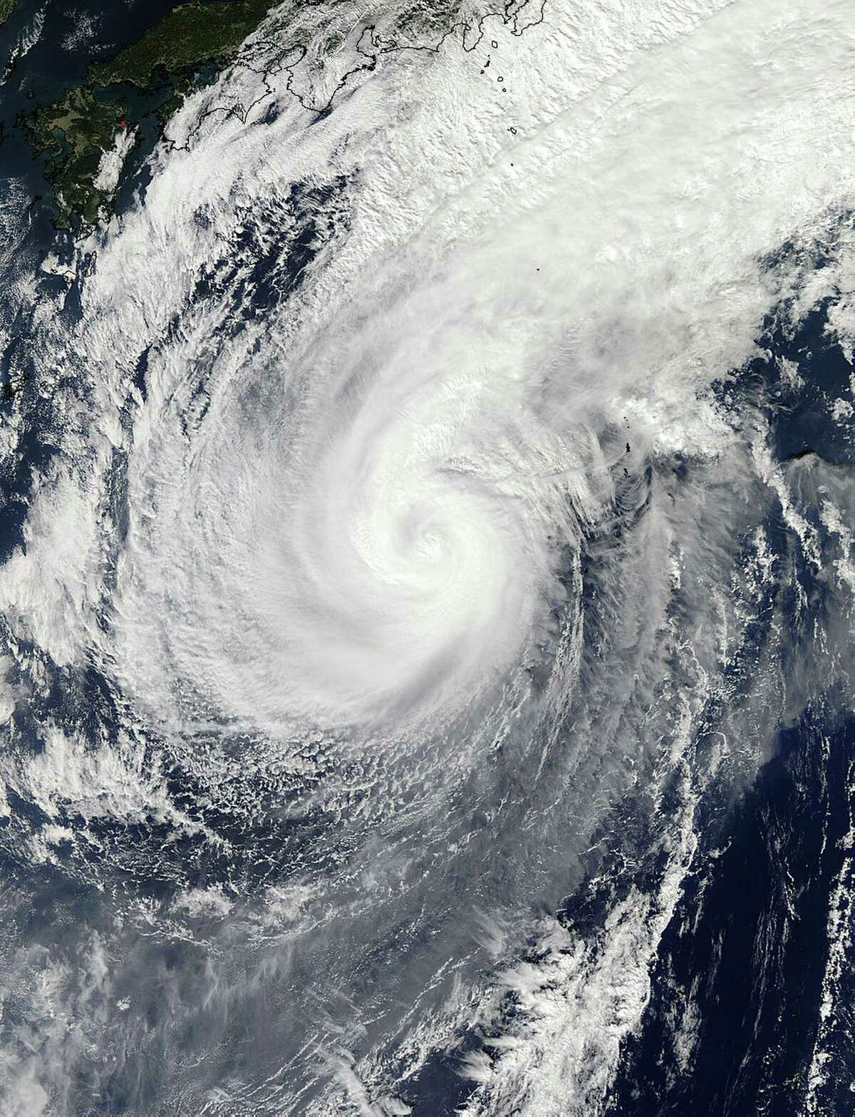 This Nov. 5, 2014 photo provided by NASA shows a picture captured by NASA's Aqua satellite of Typhoon Nuri. Weather forecasters say an explosive storm, a remnant of Typhoon Nuri, surpassing the intensity of 2012's Superstorm Sandy is heading toward the northern Pacific Ocean and expected to pass Alaska's Aleutian Islands over the weekend.