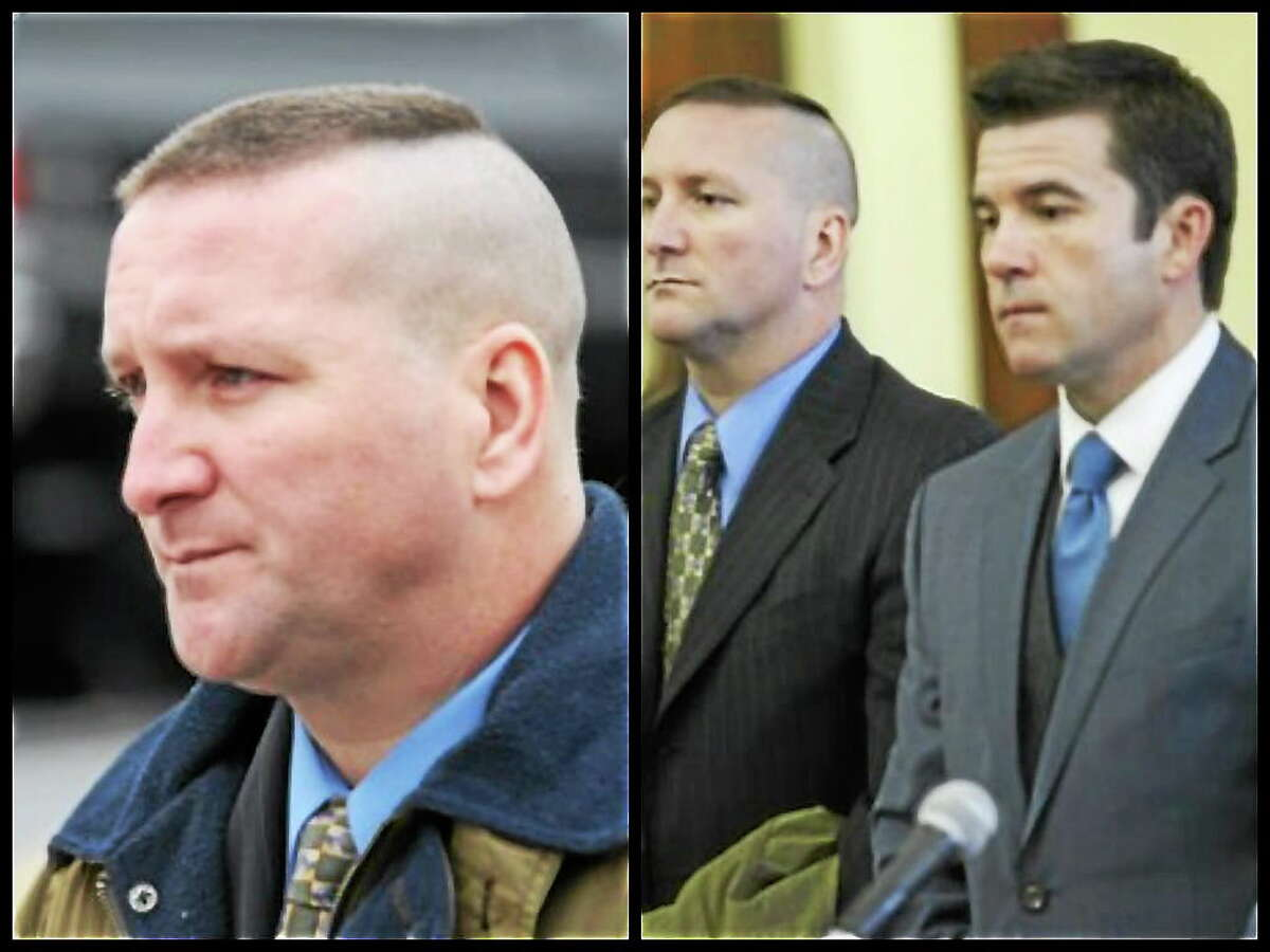 In right-side picture: Connecticut State Police Trooper Aaron Huntsman (left) appears with attorney Ryan McGuigan in Bridgeport Superior Court on Dec. 17, 2012.