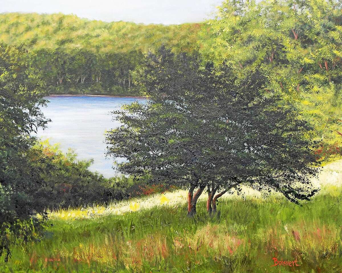 """Image courtesy of the artist """"Sunlit Patch"""" by Linda DeStefanis of Rocky Hill, part of Maple and Main Gallery's summer show in Chester."""