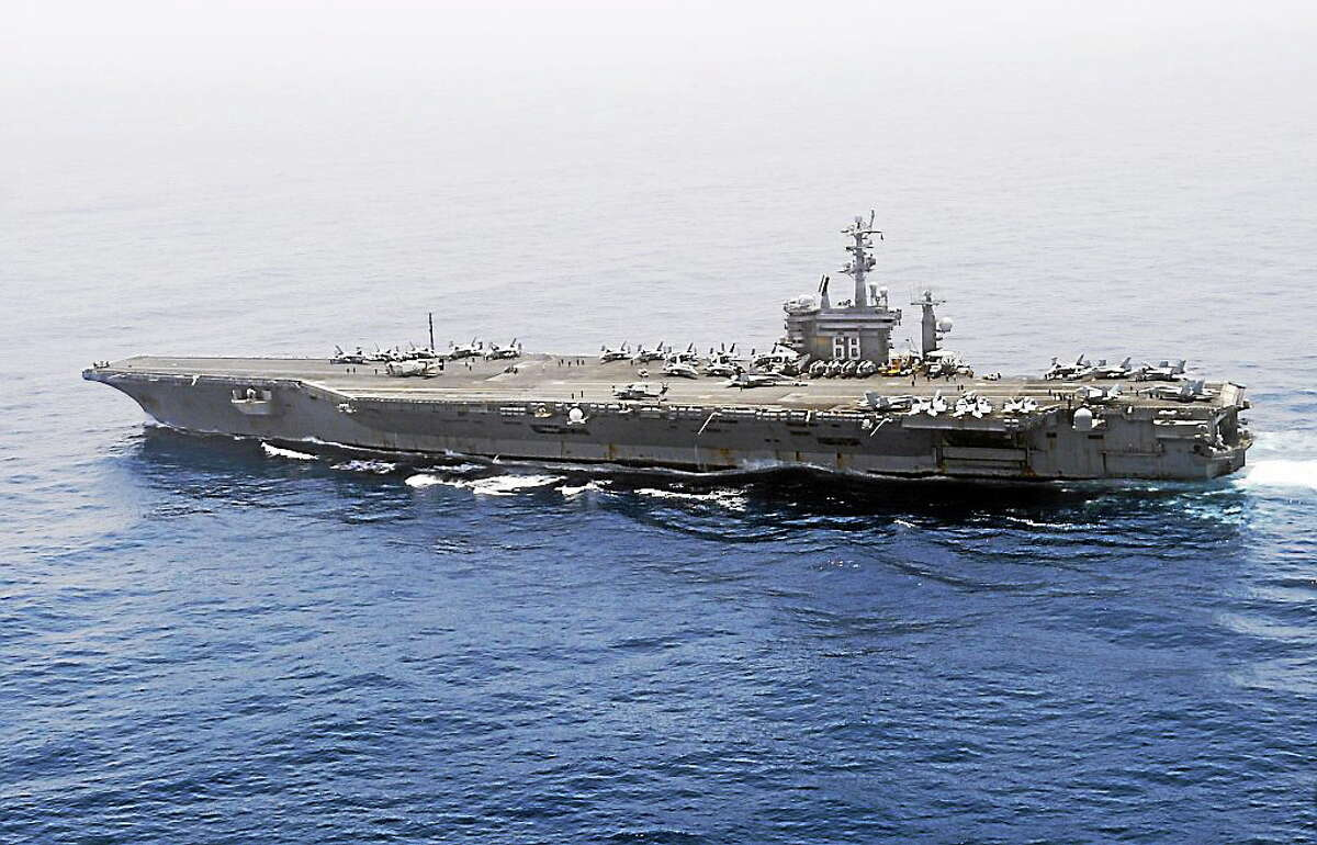 The aircraft carrier USS Nimitz (CVN 68) transits the Indian Ocean.