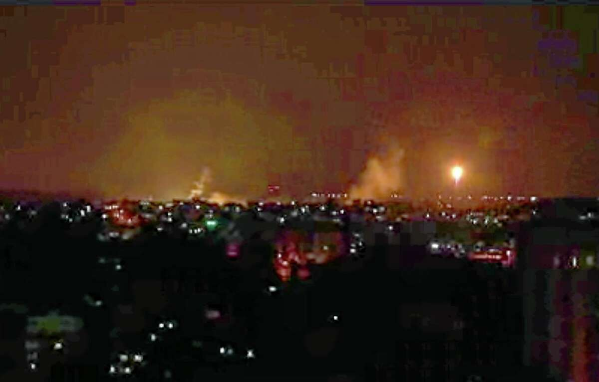 This image made from video shows the Gaza skyline during Israeli airstrikes Thursday, July 17, 2014. Israel launched a large-scale ground offensive in the Gaza Strip Thursday, escalating a 10-day military operation to try to destroy Hamas' weapons arsenal, rocket firing abilities and tunnels under the Palestinian territory's border with Israel.(AP Photo via AP video)