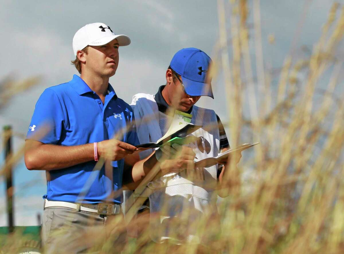 In this July 18, 2013 file photo, Jordan Spieth prepares to tee off on the 18th hole during the first round of the British Open at Muirfield, Scotland.