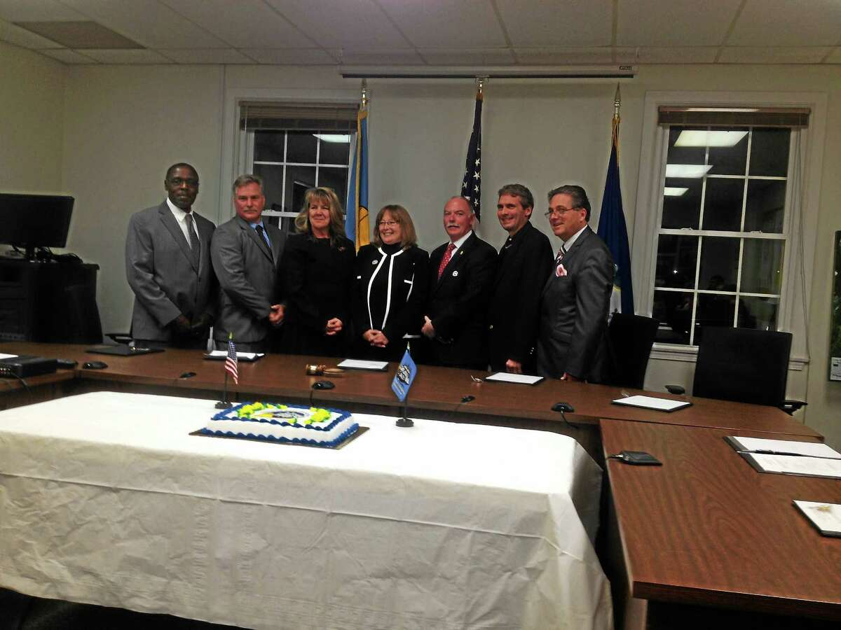 Republican winners of Tuesday night's election were sworn at town hall on Wednesday.