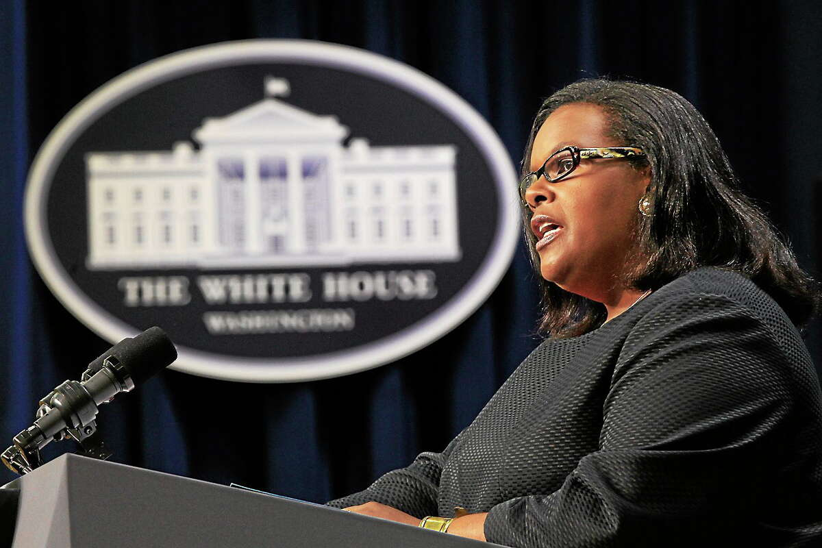 Chair of the Equal Employment Opportunity Commission Jacqueline Berrien speaks at a Middle Class Task Force event in the Eisenhower Executive Office Building across from the White House in Washington on July 20, 2010.