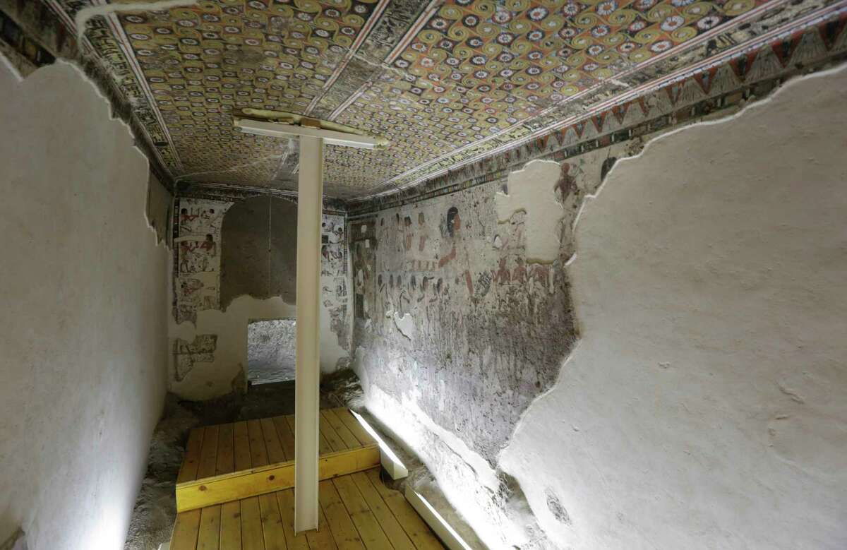 The tomb of Huy, viceroy of Kush under the famed King Tutankhamun, which has wall paintings of Nubians bringing tributes, is seen at the pharaonic tombs at Qurnat Marey area of Luxor, Egypt, Thursday, Nov. 5, 2015. Egypt has opened three tombs in the ancient city of Luxor to the public, hoping to spur tourism interest despite the shadow of last weekend's airline crash in the Sinai Peninsula.