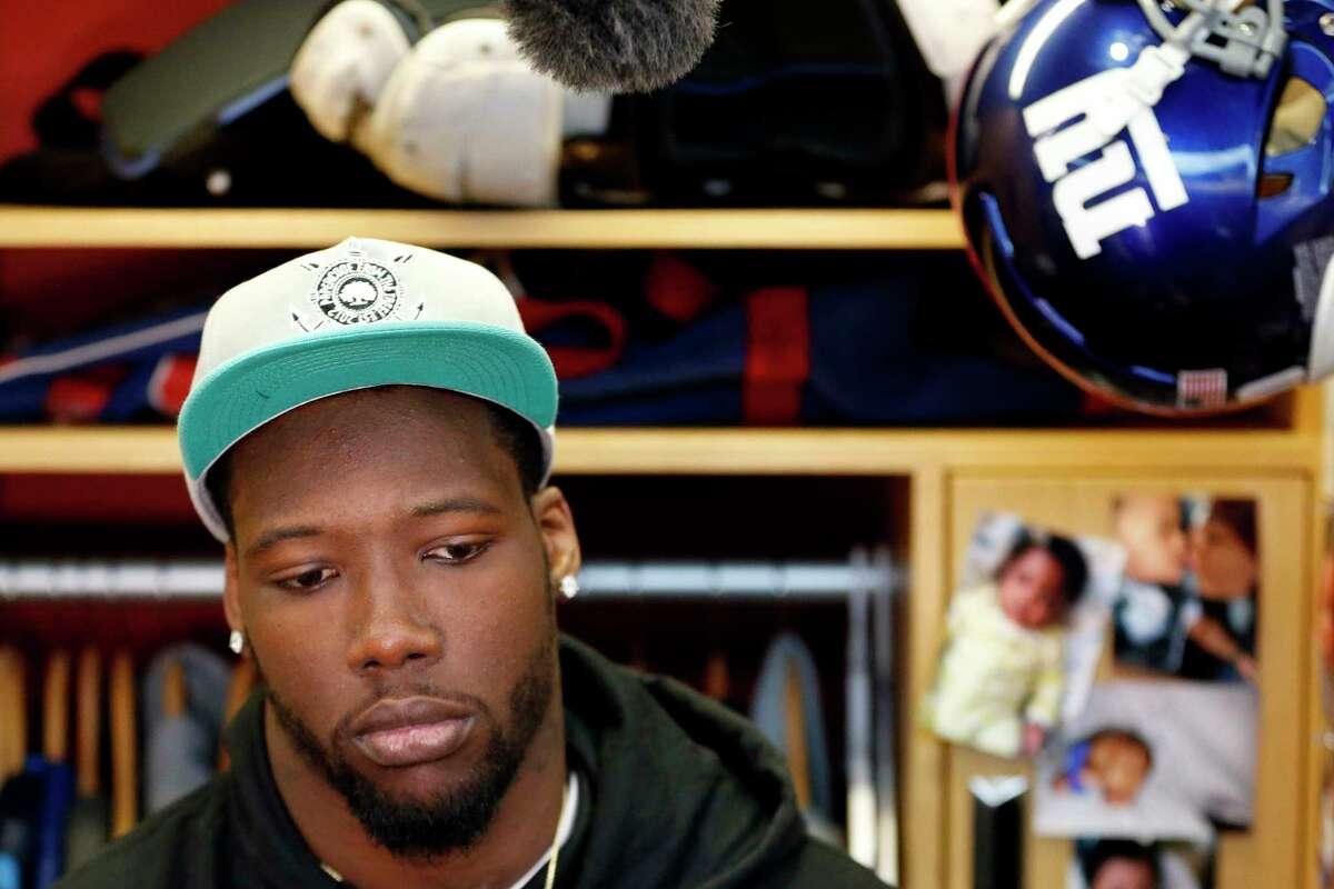 New York Giants defensive end Jason Pierre-Paul speaks to reporters Friday in East Rutherford, N.J.