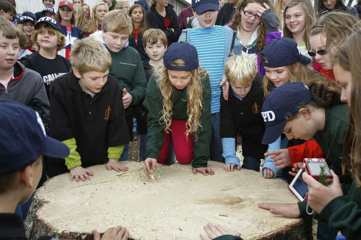 IMAGE DISTRIBUTED FOR TISHMAN SPEYER - Local students attend The 2014 Rockefeller Center Christmas tree cutting in Hemlock Township, Pa. on Wednesday, Nov. 5, 2014. (Photo by Mark Stehle/Invision for Tishman Speyer/AP Images)