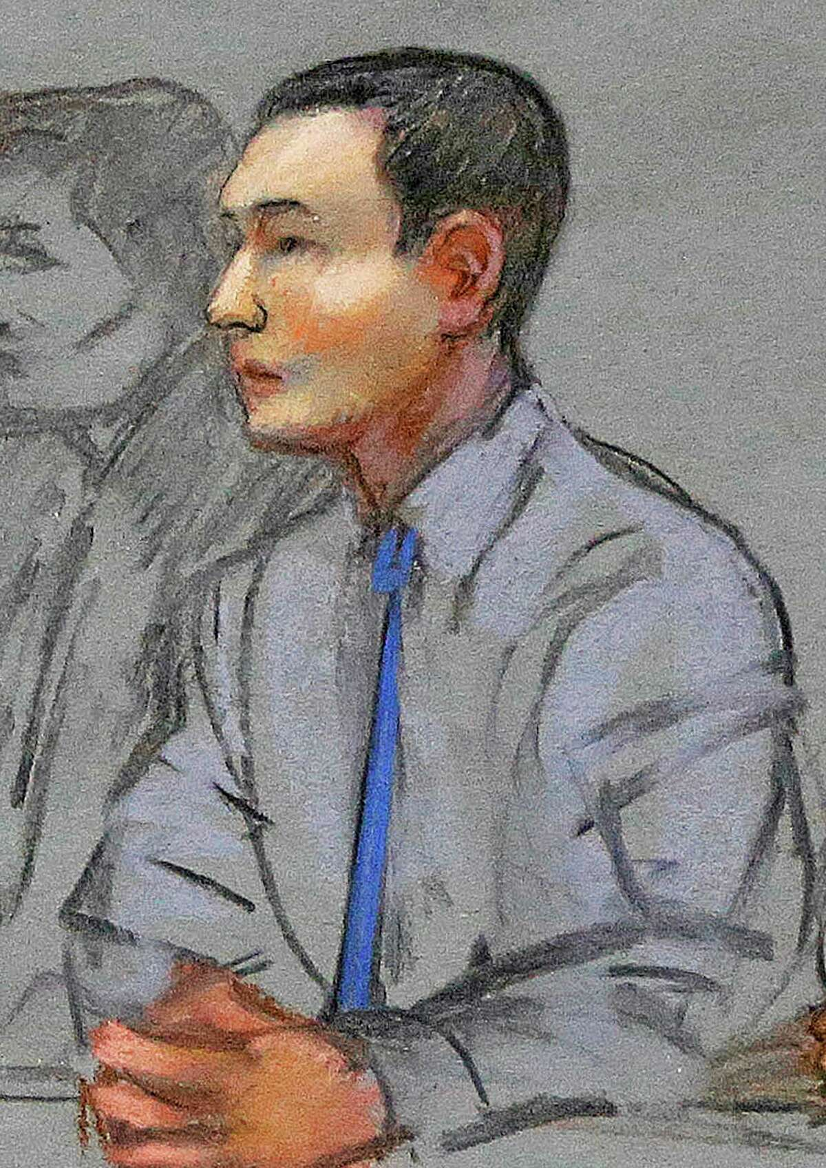 FILE - In this May 13, 2014 file courtroom sketch, defendant Azamat Tazhayakov, a college friend of Boston Marathon bombing suspect Dzhokhar Tsarnaev, sits during a hearing in federal court in Boston. His federal trial is set to begin Monday, July 7, 2014 in Boston on obstruction of justice charges. Tazhayakov, of Kazakhstan, is accused with another friend of removing items from Tsarnaev's dorm room, but is not charged with participating in the bombing or knowing about it in advance. (AP Photo/Jane Flavell Collins, File)