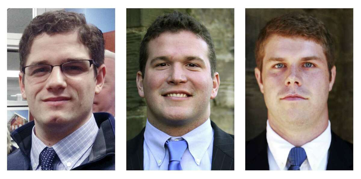 This panel of photos released Thursday by Yale shows Chris Gennaro, left, Paul Rice, center, and Zach Wigmore. The three members of the school's football staff donated bone marrow along with some two dozen others from Yale, where advocates said they have found an usually high success rate.