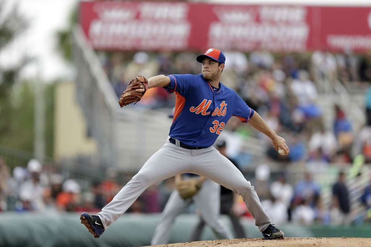 New York Mets pitcher Steven Matz throws during the first inning of Saturday's split-squad game against the Miami Marlins in Jupiter, Fla.