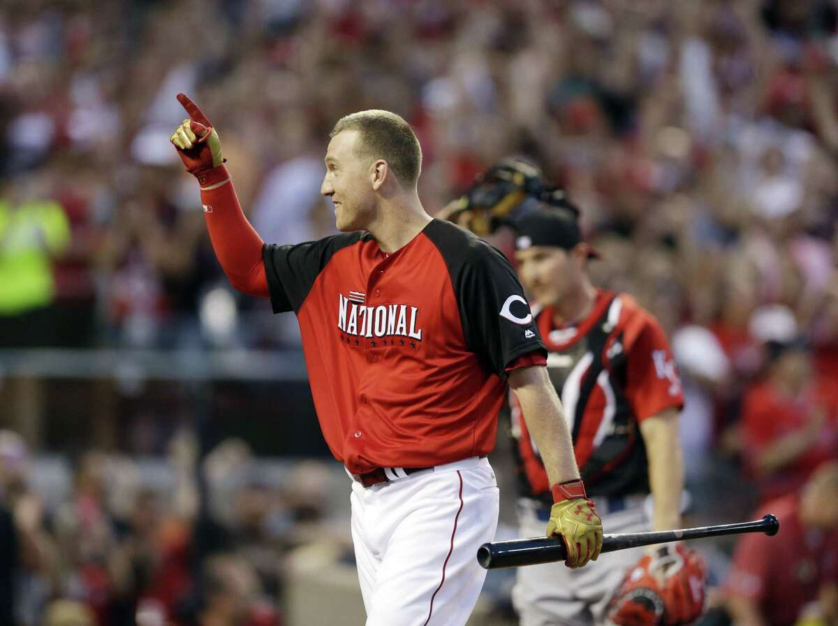 Todd Frazier reacts during the Home Run Derby Monday in Cincinnati.