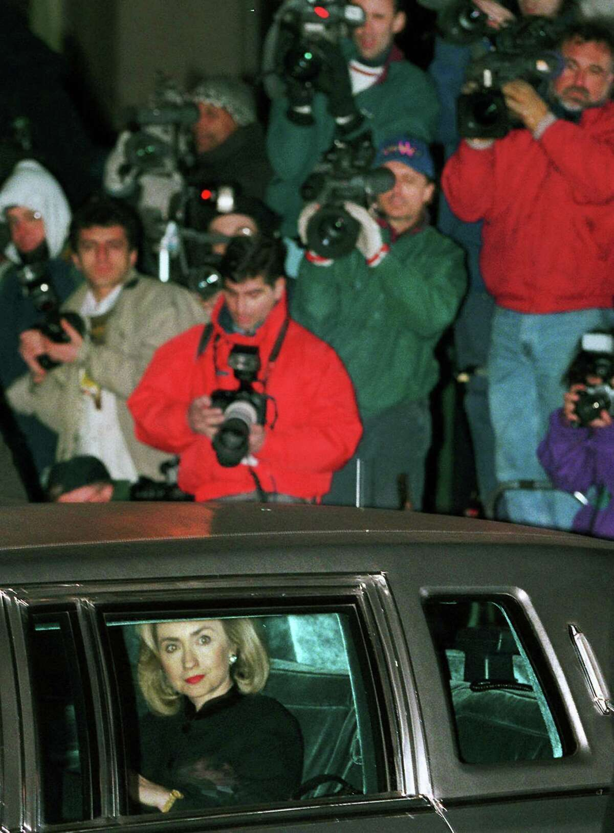 FILE - In this Jan. 26, 1996 file photo, then-first lady Hillary Rodham Clinton leaves U.S. District Court in Washington for the White House after testifying about four hours in secret to a grand jury investigating Whitewater. Once again, Hillary Rodham Clinton did it her way, and it could cost her. Clintonís decision to eschew government email and use her own private server as secretary of state is raising questions about secrecy, security and the law _ including whether she might have deleted important messages tapped into her ubiquitous Blackberry instead of preserving them for public scrutiny and history. At the least, the controversy is a bump on her unprecedented path from first lady to presumed presidential contender. (AP Photo/Mark Wilson, File)