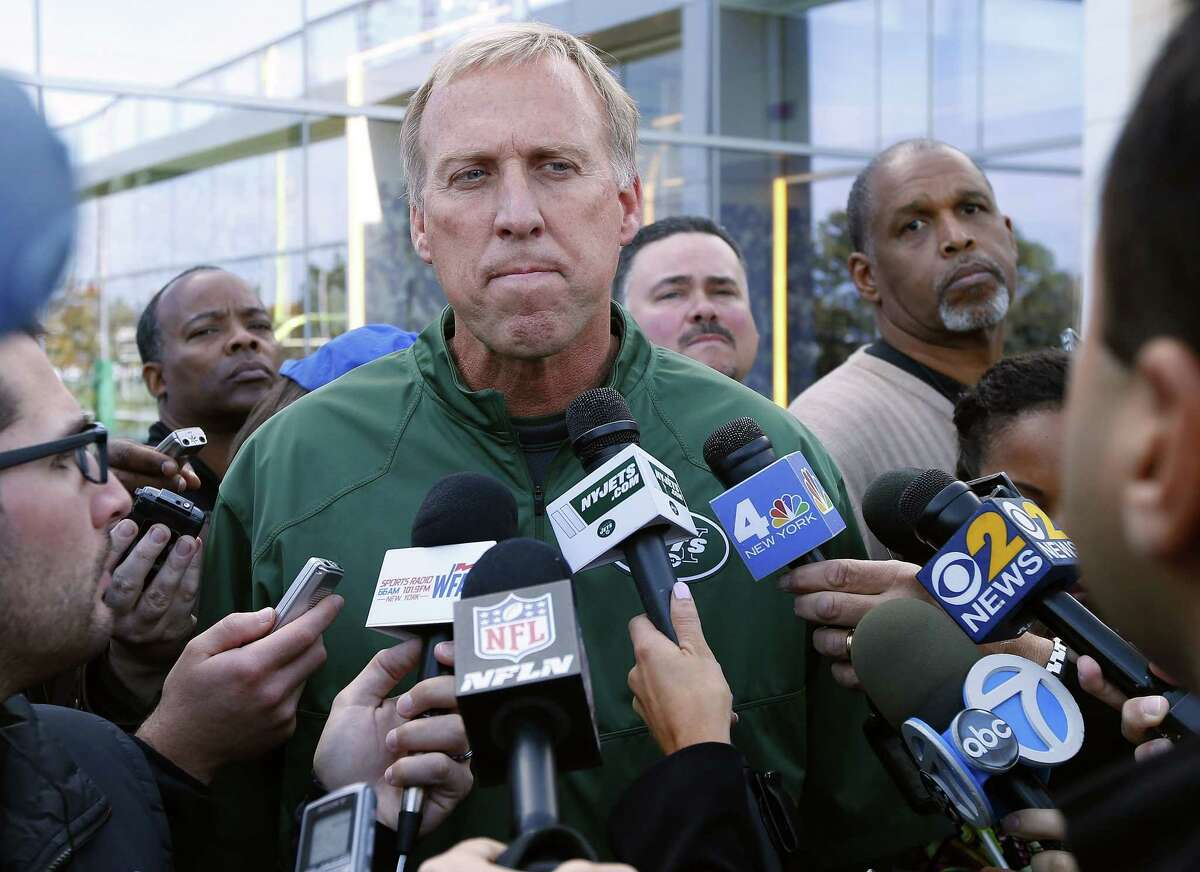 New York Jets general manager John Idzik talks about the trade for receiver Percy Harvin during practice last month in Florham Park, N.J.