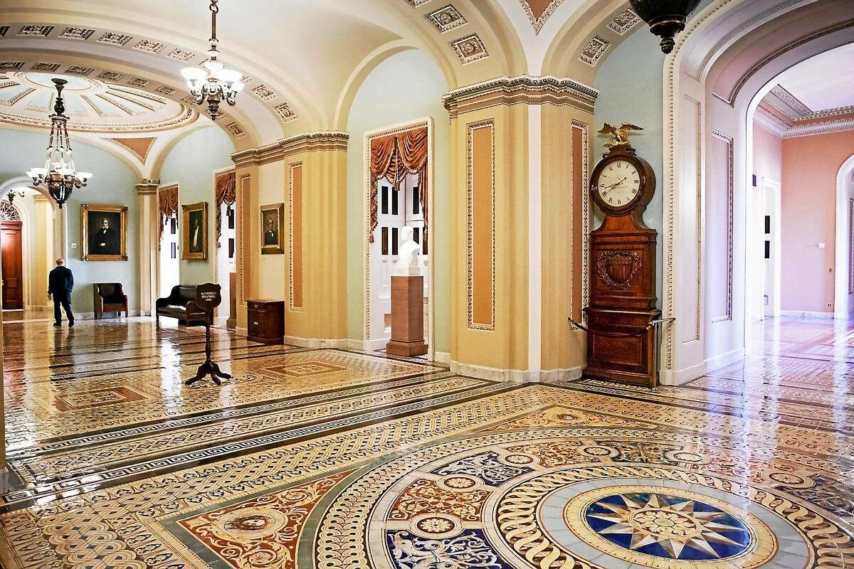 The ornate corridor outside the Senate chamber.