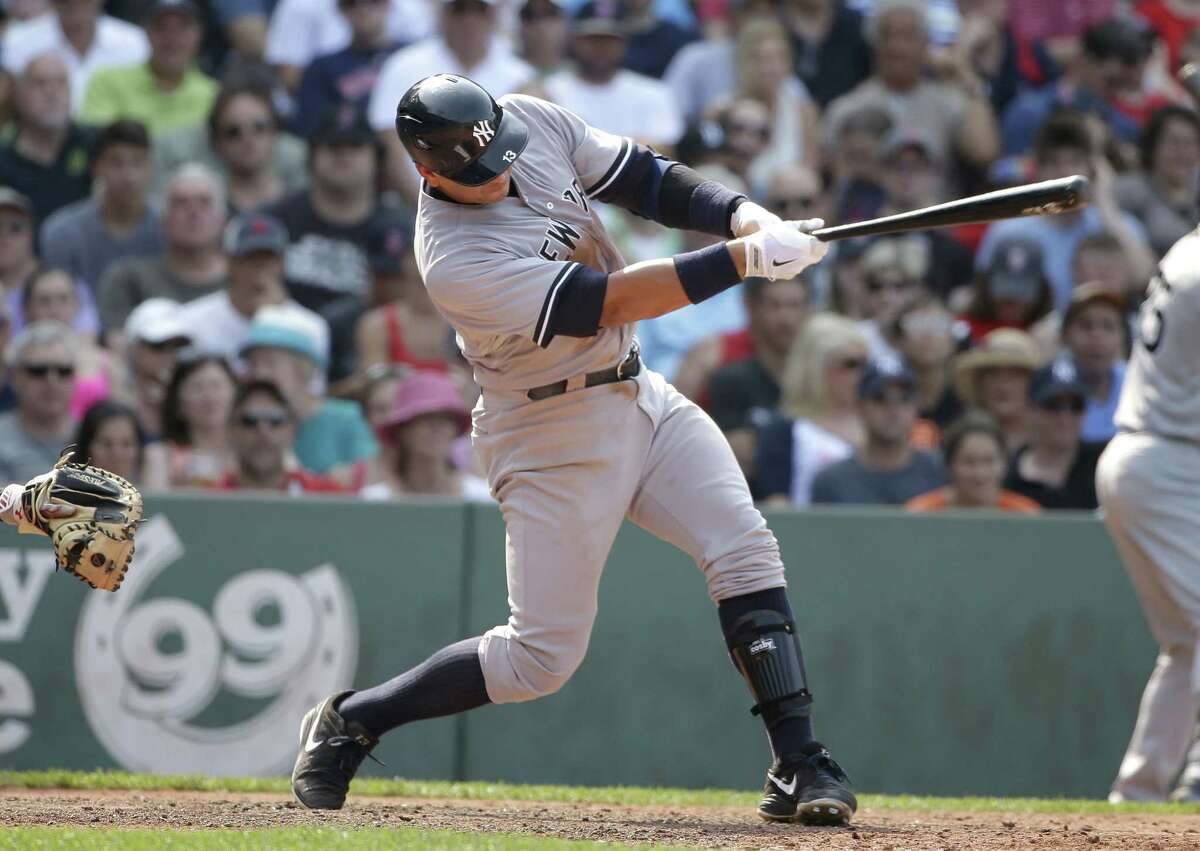 The Yankees' Alex Rodriguez takes a swing in the seventh inning of Sunday's game.