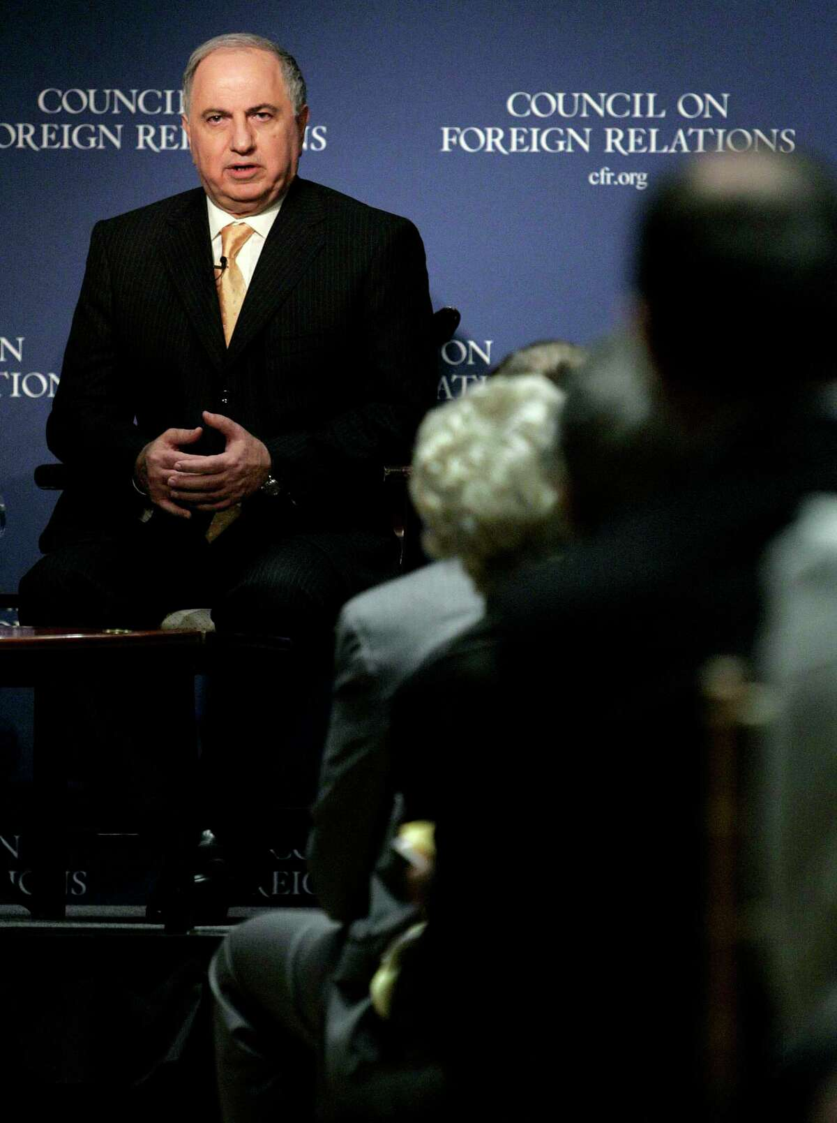 In this Friday Nov. 11, 2005, file photo, Iraqi Deputy Prime Minister Ahmad Chalabi speaks at the Council on Foreign Relations, in New York. Iraqi state TV says Chalabi, a prominent politician who strongly advocated the 2003 U.S.-led invasion to overthrow Saddam Hussein, has died of a heart attack.