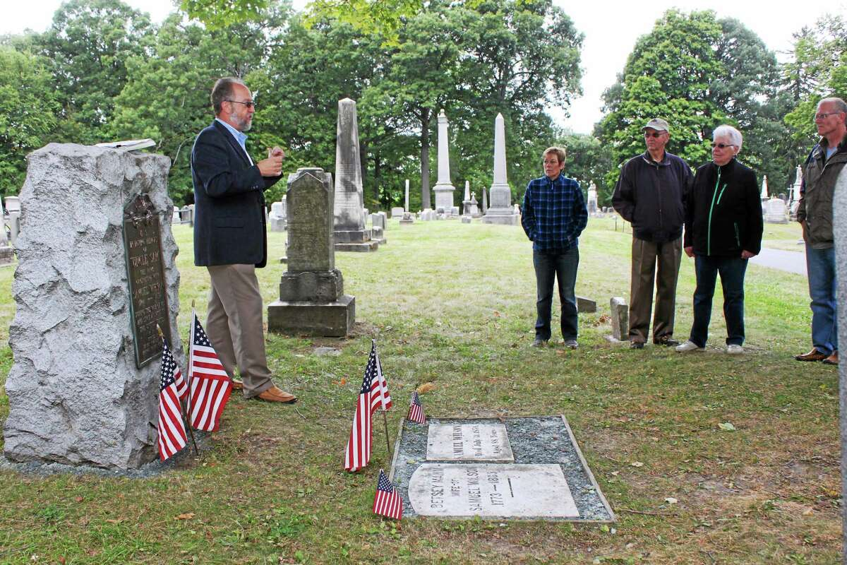 """The Cromwell Hillside Cemetery Association and Cromwell Historical Society will host a """"Hallowed Grounds"""" walking tour, much like this War of 1812 — Battle of Plattsburgh"""" one about Uncle Sam at his gravesite in Troy, N.Y., shown in this file photo."""