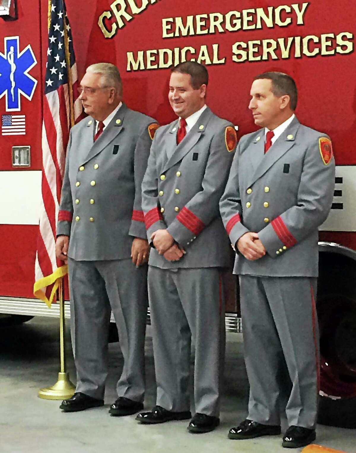 Michael Salonia, 14-year veteran of the Cromwell Fire Department, was installed as deputy chief Monday, along with William Clare as assistant chief of emergency management services and Thomas Duff assistant fire chief.