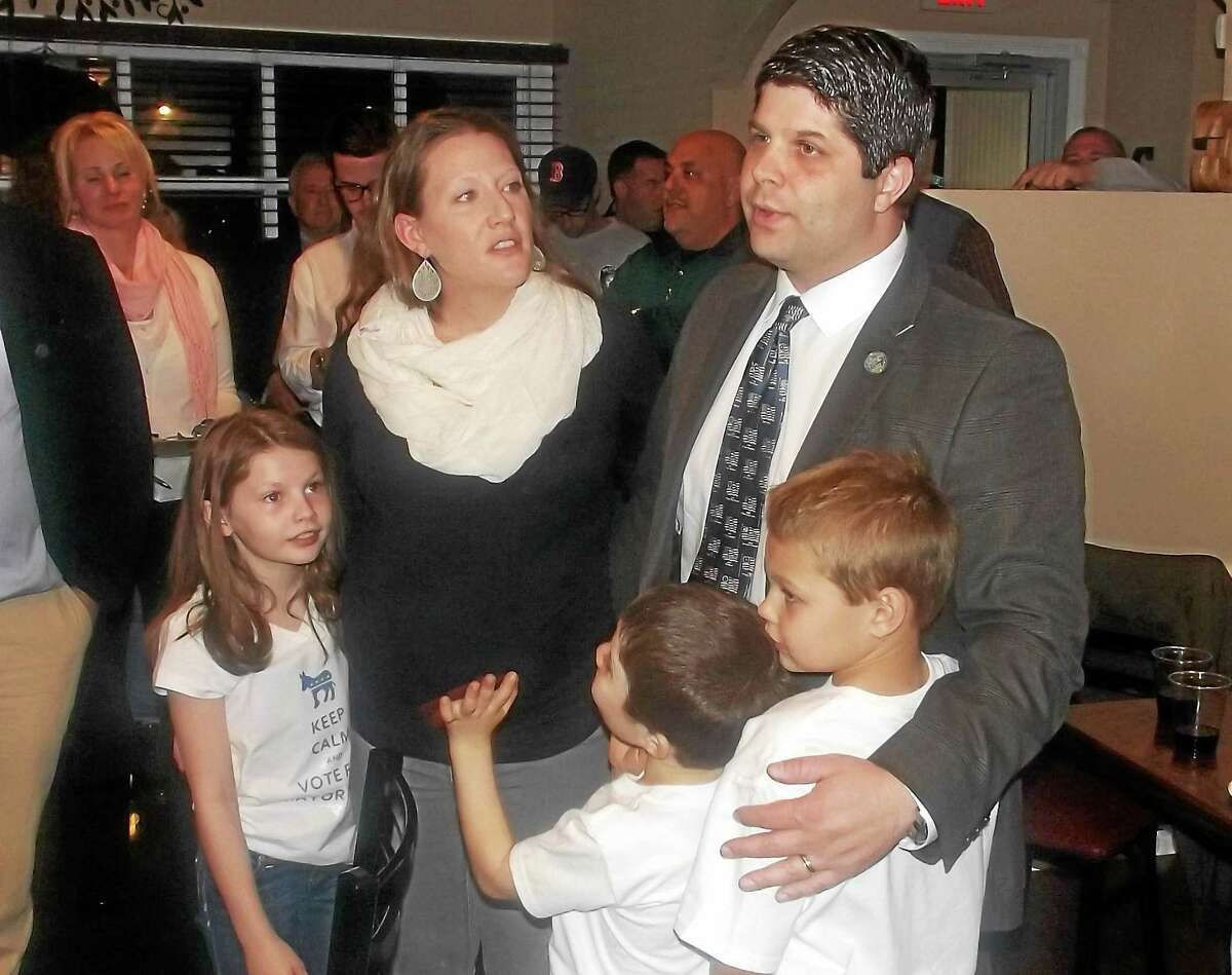 Mayor Dan Drew and his family celebrate just after learning of his win.