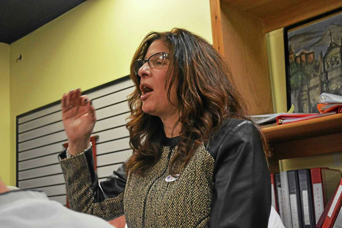 """Middletown Common Councilwoman Sandra Russo-Driska delivers her concession speech 45 minutes after the polls closed. """"Local giving and local politics did not win tonight,"""" she told supporters."""
