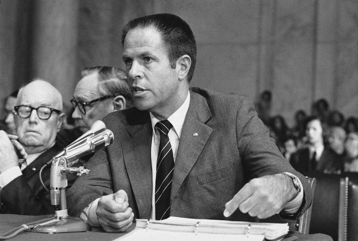 FILE - In this July 31,1973, file photo, H.R. Haldeman, a former top aide to President Richard Nixon, testifies before the Senate Watergate Committee in Washington. The Richard Nixon Presidential Library & Museum is declassifying and releasing 285 segments from an audio diary kept by Haldeman, from 1970 to 1973.