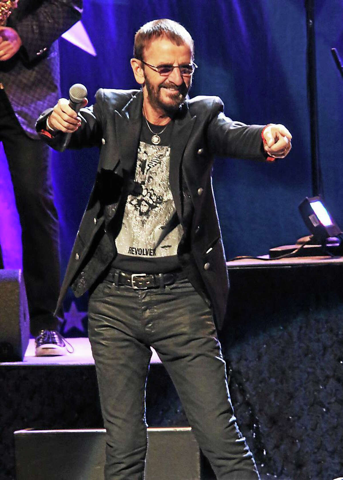Photo by John Atashian Musician Ringo Starr is shown having fun on stage at the Grand Theater in the Foxwoods Resort Casino Oct. 24. His All Starr band included musicians Todd Rundgren, Steve Lukather of Toto, Richard Page of Mister Mister and Greg Rolie of Santana. The concert featured songs from all of the band members' solo careers, plus Ringo's biggest hits with The Beatles and his own solo career. To view all upcoming entertainment coming the Foxwoods Resort Casino, go to www.foxwoods.com.