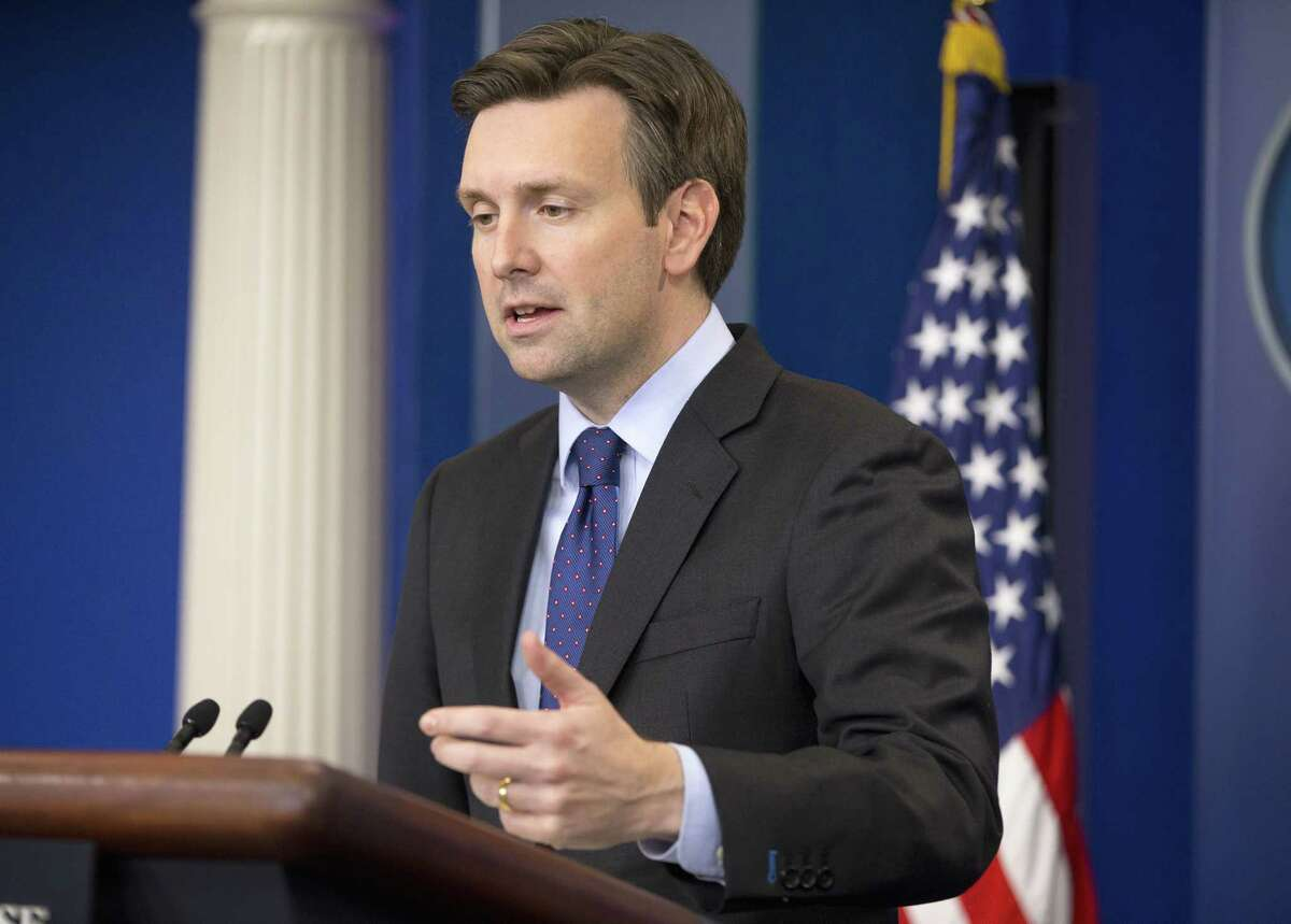 White House press secretary Josh Earnest speaks to the media during the daily briefing in the Brady Press Briefing Room of the White House in Washington Friday. Earnest commented on President Obama's decision to deploy fewer than 50 commandos to northern Syria to work with local group forces in the fight against Islamic State militants.